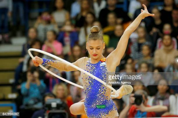 Aleksandra Soldatova of Russia performs hoop during the International Rhythmic Gymnastics Championship at the Alina Cup Grand Prix 2017 in Moscow...