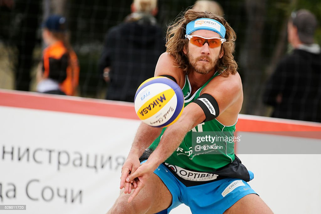 Aleksandrs Samoilovs of Latvia receives a ball during 3d day of FIVB Sochi Open presented by VTB on May 5, 2016 in Sochi, Russia.