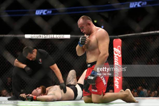 Aleksei Oleinik celebrates after his victory over Travis Browne in their heavyweight bout during the UFC 213 event at TMobile Arena on July 9 2017 in...