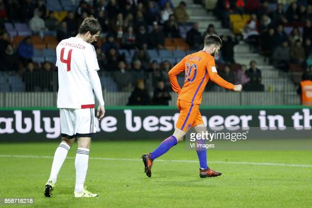 Aleksei Yanushkevich of Belarus Davy Propper of Holland during the FIFA World Cup 2018 qualifying match between Belarus and Netherlands on October 07...