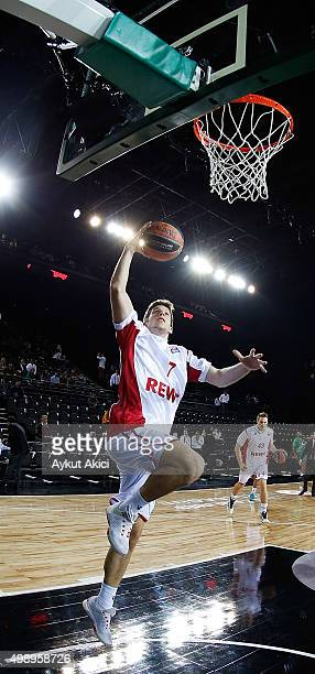 Aleksej Nikolic #7 of Brose Baskets Bamberg warmsup prior to the Turkish Airlines Euroleague Regular Season Round 7 game between Darussafaka Dogus...
