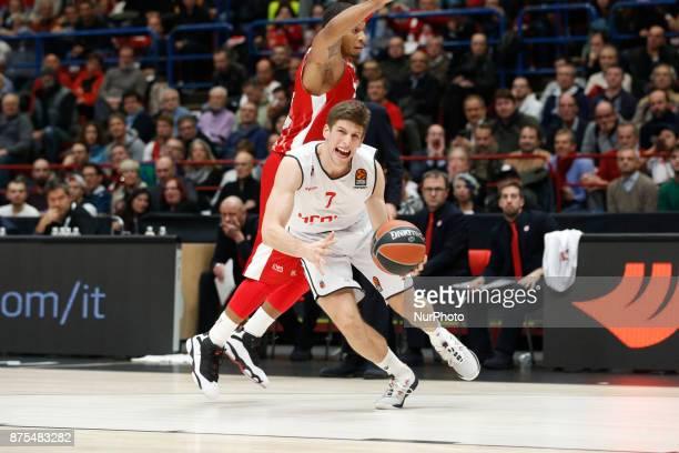 Aleksej Nikolic drives to the basket during a game of Turkish Airlines EuroLeague basketball between AX Armani Exchange Milan vs Brose Bamberg at...