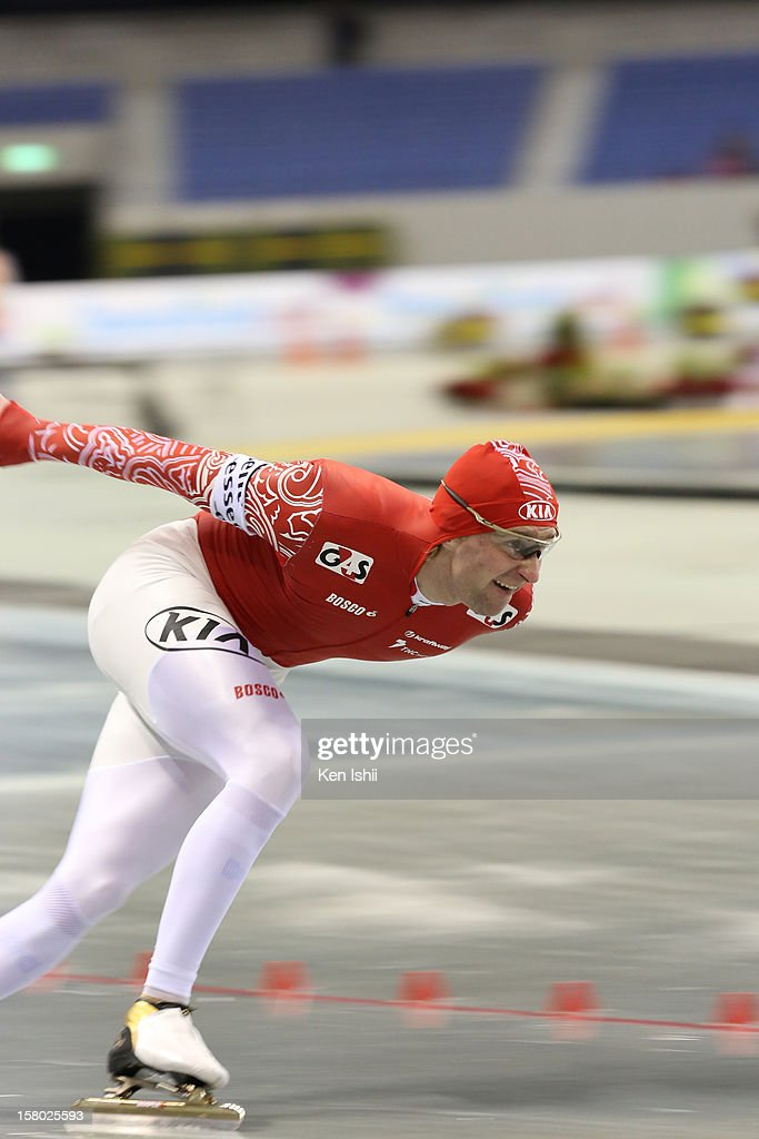 Aleksey Yesin of Russia competes in the Men's 1,000m during day two of the ISU World Cup Speed Skating at MWave on December 9, 2012 in Nagano, Japan.