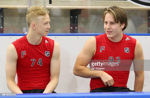 Aleksi Heponiemi and Eeli Tolvanen await their next test during the NHL Combine at HarborCenter on June 3 2017 in Buffalo New York