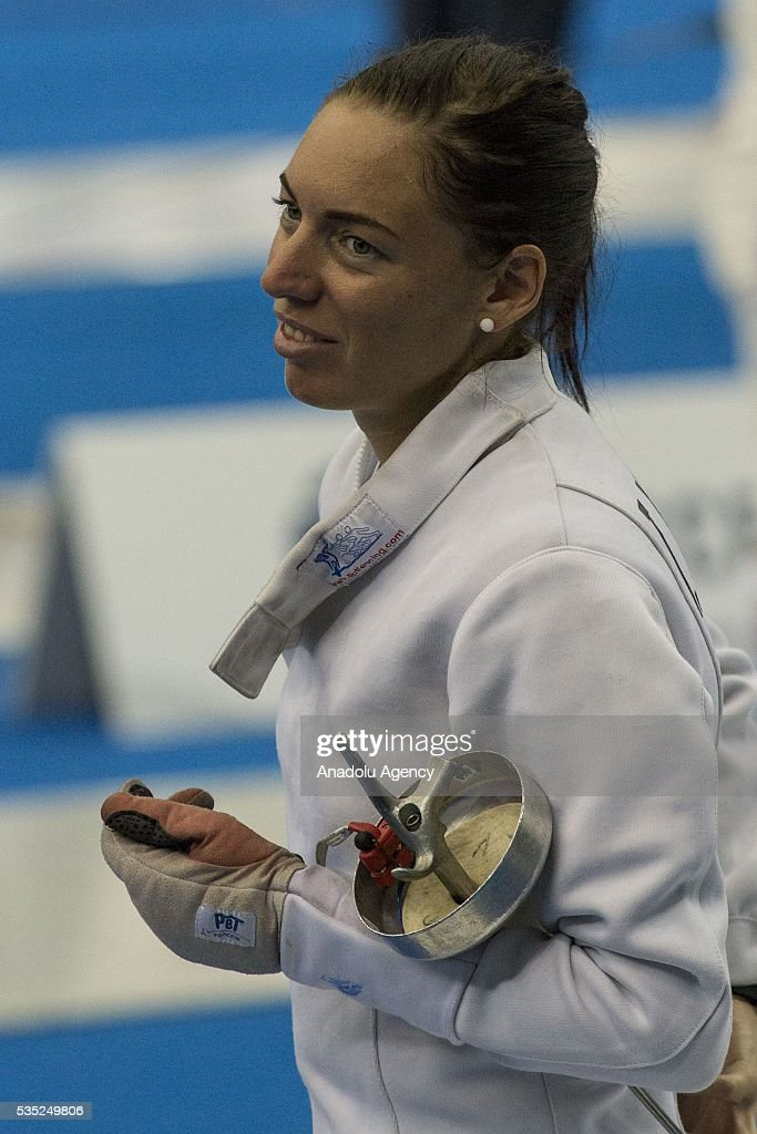 Alekszjev Tamara from Hungary competes in the fencing at the mixed relay World Championship in modern pentathlon in Olympic Sports Complex in Moscow, Russia, on May 29, 2016.