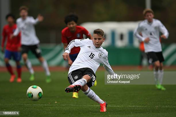 Alem Koljic of Germany runs with the ball during the U15 international friendly match between Germany and South Korea at Jahnstadion on November 5...