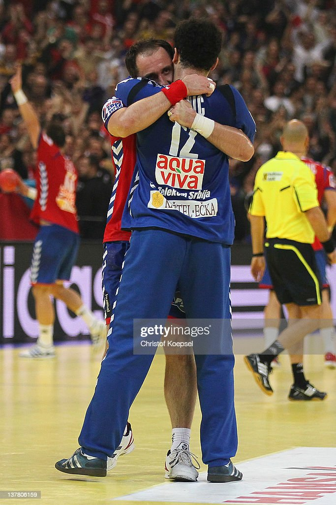 Alem Toskic and Darko Stanic of Serbia celebrate the 26-22 victory after the Men's European Handball Championship second semi final match between Serbia and Croatia at Beogradska Arena on January 27, 2012 in Belgrade, Serbia.
