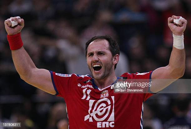 Alem Toskic celebrate a goal during the Men's European Handball Championship 2012 semifinal match between Serbia and Croatia at Arena Hall on January...