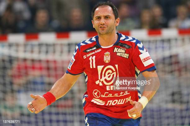 Alem Toskic of Serbia celebrates a goal during the Men's European Handball Championship second round group one match between Serbia and Sweden at...