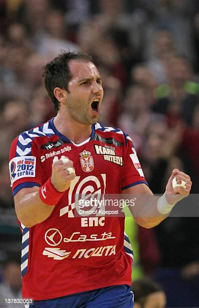 Alem Toskic of Serbia celebrates a goal during the Men's European Handball Championship second semi final match between Serbia and Croatia at...