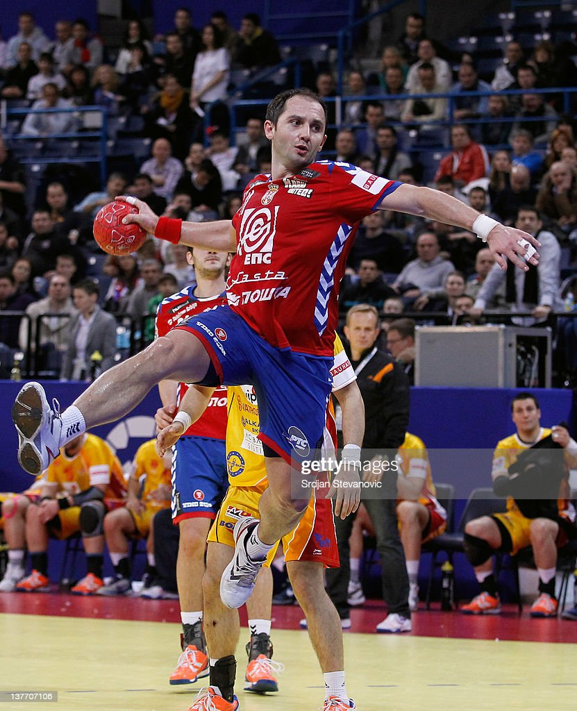Alem Toskic of Serbia jumps to score during the Men's European Handball Championship 2012 second round group one match between Serbia and Macedonia at Arena Hall on January 25, 2012 in Belgrade, Serbia.
