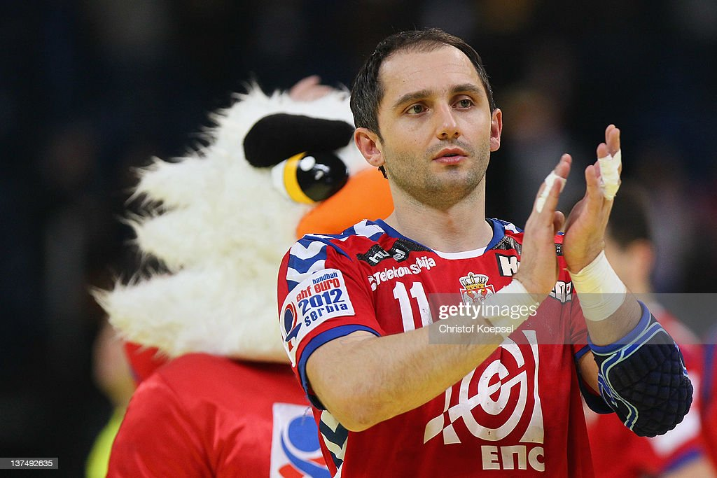 Alem Toskic of Serbia looks dejected after the 21-21 draw of the Men's European Handball Championship second round group one match between Serbia anhd Germany at Beogradska Arena on January 21, 2012 in Belgrade, Serbia.