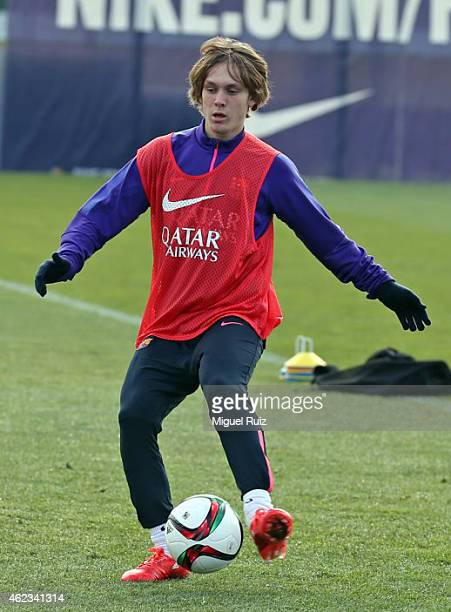 Alen Halilovic in action during the FC Barcelona training session at Ciutat Esportiva on January 26 2015 in Barcelona Spain