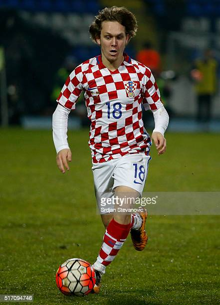 Alen Halilovic of Croatia in action during the International Friendly match between Croatia and Israel at stadium Gradski Vrt on March 23 2016 in...