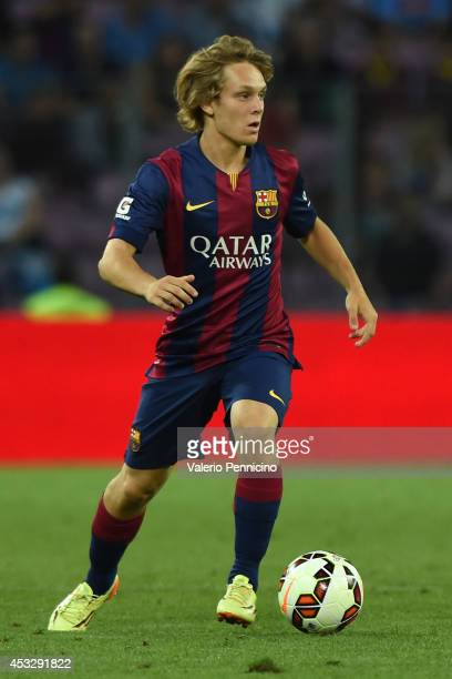 Alen Halilovic of FC Barcelona in action during the preseason friendly match between FC Barcelona and SSC Napoli on August 6 2014 in Geneva...