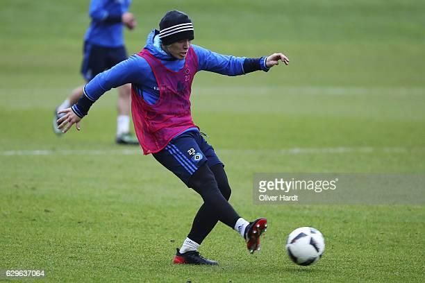 Alen Halilovic of Hamburg in action during a training session at Volksparkstadion on December 14 2016 in Hamburg Germany