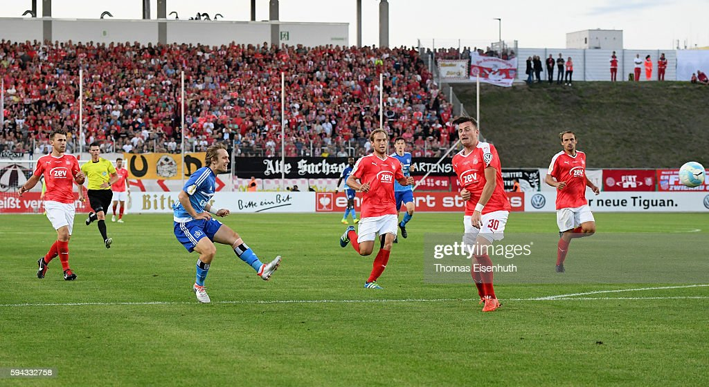 Alen Halilovic (2nd left) of Hamburg scores his team's opening goal during the DFB Cup match between FSV Zwickau and Hamburger SV at Stadion Zwickau on August 22, 2016 in Zwickau, Germany.