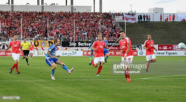 Alen Halilovic of Hamburg scores his team's opening goal during the DFB Cup match between FSV Zwickau and Hamburger SV at Stadion Zwickau on August...
