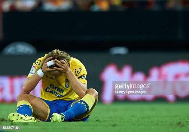 Alen Halilovic of Las Palmas reacts after a red card during the La Liga match between Valencia and Las Palmas at Estadio Mestalla on August 18 2017...