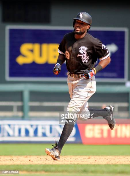 Alen Hanson of the Chicago White runs the bases after hitting a home run against the Minnesota Twins in the ninth inning during of their baseball...