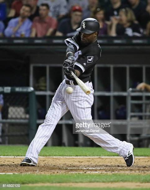 Alen Hanson of the Chicago White Sox bats against the Texas Rangers at Guaranteed Rate Field on June 30 2017 in Chicago Illinois The White Sox...