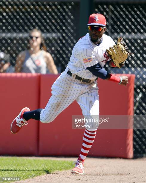 Alen Hanson of the Chicago White Sox fields against the Texas Rangers on July 2 2017 at Guaranteed Rate Field in Chicago Illinois The White Sox...
