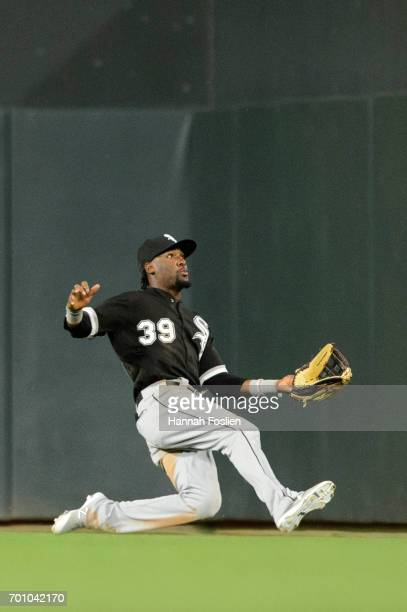 Alen Hanson of the Chicago White Sox makes a play in right field against the Minnesota Twins during the game on June 21 2017 at Target Field in...