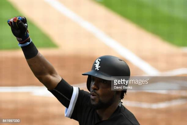 Alen Hanson of the Chicago White Sox reacts as he crosses home plate after hitting a home run against the Tampa Bay Rays during the first inning on...
