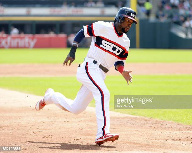 Alen Hanson of the Chicago White Sox runs the bases against the Tampa Bay Rays on September 3 2017 at Guaranteed Rate Field in Chicago Illinois