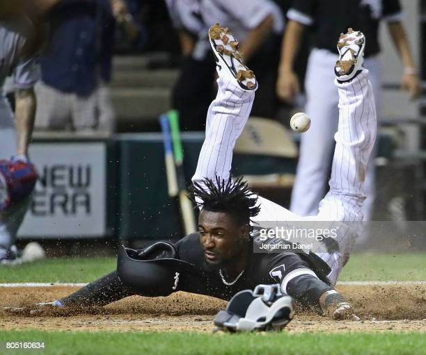 Alen Hanson of the Chicago White Sox scores the game winning run against the Texas Rangers in the 9th inning at Guaranteed Rate Field on June 30 2017...