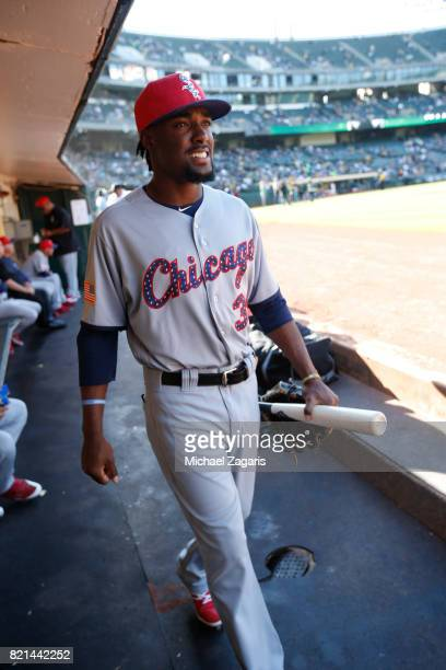 Alen Hanson of the Chicago White Sox stands in the dugout prior to the game against the Oakland Athletics at the Oakland Alameda Coliseum on July 3...