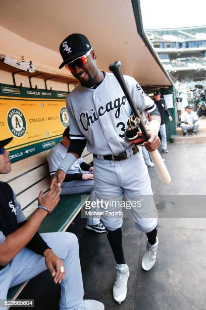 Alen Hanson of the Chicago White Sox stands in the dugout prior to the game against the Oakland Athletics at the Oakland Alameda Coliseum on July 5...