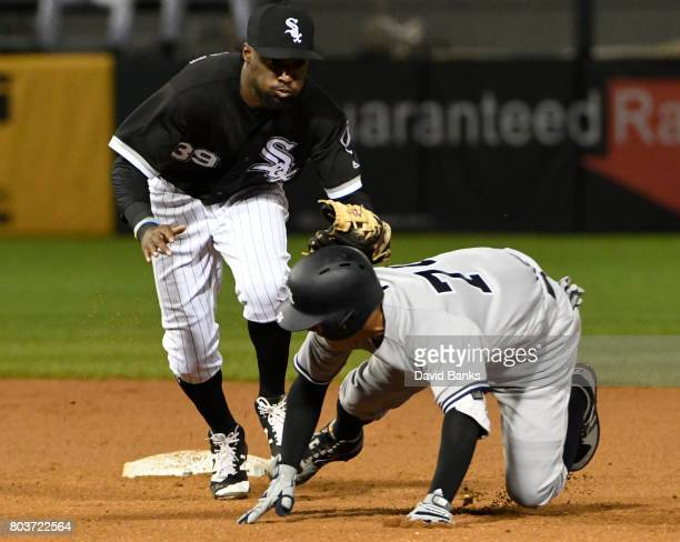 Alen Hanson of the Chicago White Sox tags out Ronald Torreyes of the New York Yankees at second base during the fourth inning on June 29 2017 at...
