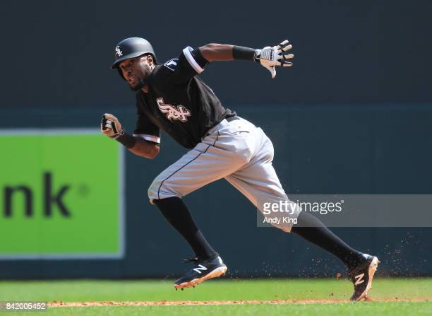 Alen Hanson of the Chicago White steals a base against the Minnesota Twins in the sixth inning during of their baseball game on August 31 at Target...