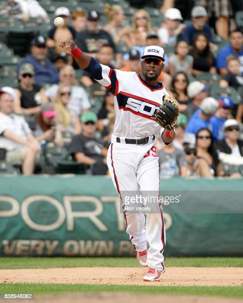 Alen Hanson of the Chicago White throws the ball toward first base against the Kansas City Royals on August 13 2017 at Guaranteed Rate Field in...