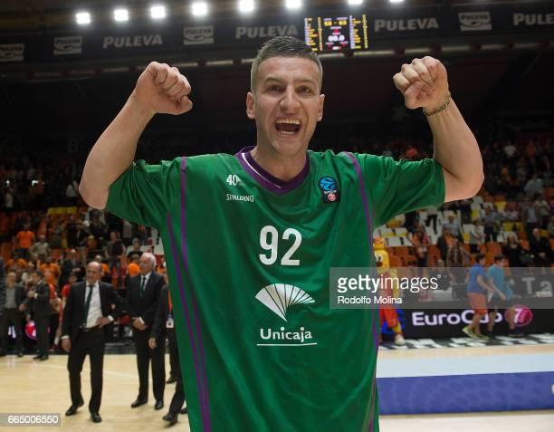 Alen Omic #92 of Unicaja Malaga celabrates at the end of the 20162017 7Days Eurocup Finals Leg 3 Valencia Basket v Unicaja Malaga at Pabellon Fuente...