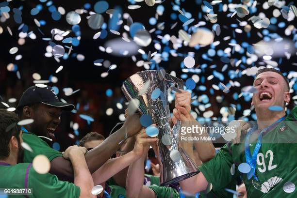 Alen Omic #92 of Unicaja Malaga celebrates with teamates and Champion Trophy at the end of the 20162017 7Days Eurocup Finals Leg 3 Valencia Basket v...