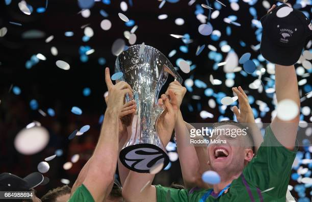 Alen Omic #92 of Unicaja Malaga celebrates with teammates and the Eurocup trophy at the end of the 20162017 7Days Eurocup Finals Leg 3 between...