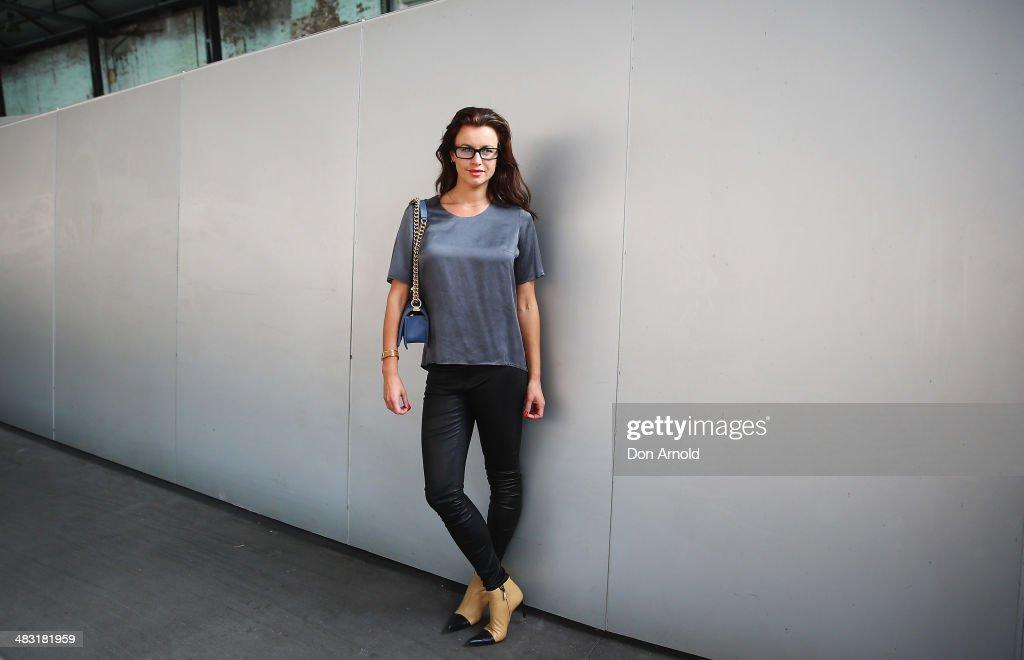 Alena Berticevski wears J Brand pants Chanel boots Chanel boy bag and Tsubi glasses at MercedesBenz Fashion Week Australia 2014 at Carriageworks on...
