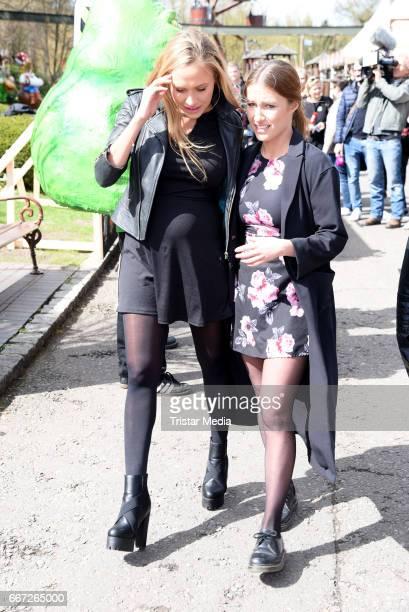 Alena Gerber and her sister Deborah Gerber attend the 'Ghostbusters 5D' opening at Heidepark on April 11 2017 in Soltau Germany