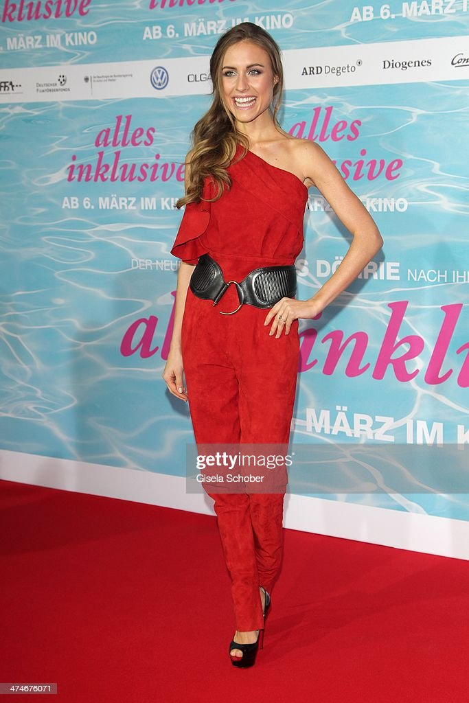 Alena Gerber attends the German premiere of the film 'Alles Inklusive' at Mathaeser Filmpalast on February 24, 2014 in Munich, Germany.