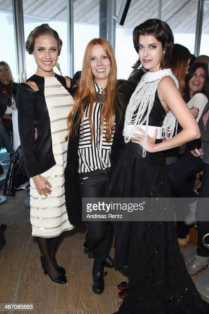 Alena Gerber designer Rebekka Ruetz and Marie Nasemann attend the Rebekka Ruetz Fashion Show at Top Mountain Star on April 26 2014 at Hochgurgl near...