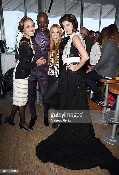 Alena Gerber Papis Loveday designer Rebekka Ruetz and Marie Nasemann attend the Rebekka Ruetz Fashion Show at Top Mountain Star on April 26 2014 at...