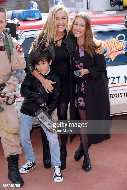 Alena Gerber with her sister Deborah Gerber and brother Mario Gerber attend the 'Ghostbusters 5D' opening at Heidepark on April 11 2017 in Soltau...