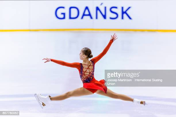 Alena Kostornaia of Russia competes in the Ladies Short Program during day one of the ISU Junior Grand Prix of Figure Skating at Olivia Ice Rink on...
