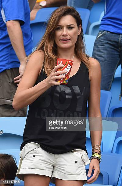 Alena Seredova wife of Gianluigi Buffon of Italy looks on ahead of the 2014 FIFA World Cup Brazil Group D match between Italy and Uruguay at Estadio...