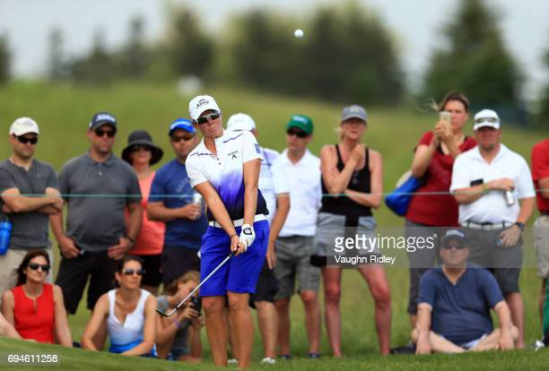 Alena Sharp of Canada chips onto the 14th green during the third round of the Manulife LPGA Classic at Whistle Bear Golf Club on June 10 2017 in...
