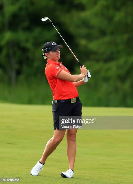 Alena Sharp of Canada hits her 2nd shot on the 18th fairway during the second round of the Manulife LPGA Classic at Whistle Bear Golf Club on June 09...