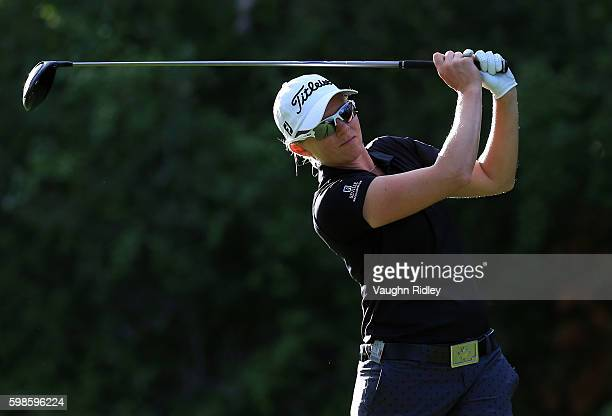 Alena Sharp of Canada hits her tee shot on the 18th hole during the first round of the Manulife LPGA Classic at Whistle Bear Golf Club on September 1...