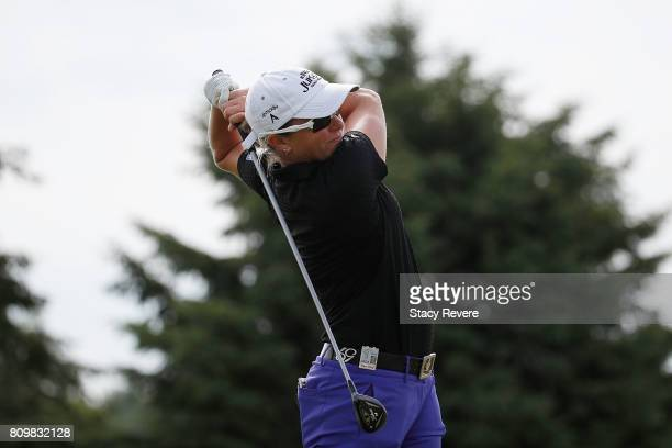 Alena Sharp of Canada hits her tee shot on the seventh hole during the first round of the Thornberry Creek LPGA Classic at Thornberry Creek at Oneida...